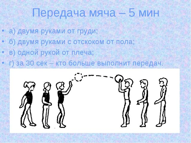 Передача мяча – 5 мин а) двумя руками от груди; б) двумя руками с отскоком от...