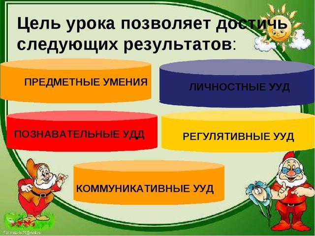Цель урока позволяет достичь следующих результатов: ПРЕДМЕТНЫЕ УМЕНИЯ ЛИЧНОСТ...