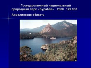 Государственный национальный природный парк «Бурабай»2000129 935Акмолинск