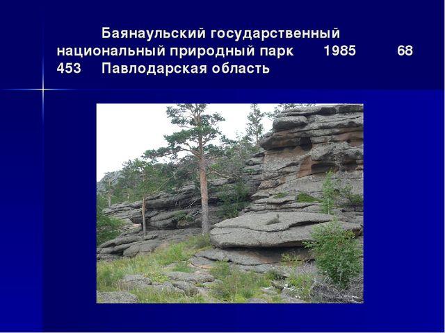 Баянаульский государственный национальный природный парк1985 68 453Павлод...