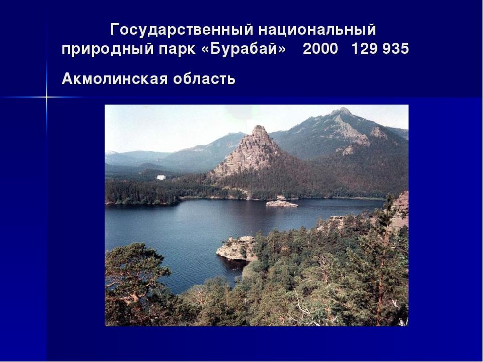 Государственный национальный природный парк «Бурабай»2000129 935Акмолинск...