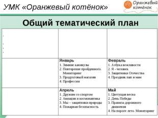 УМК «Оранжевый котёнок» Общий тематический план Сентябрь До свидания лето, зд
