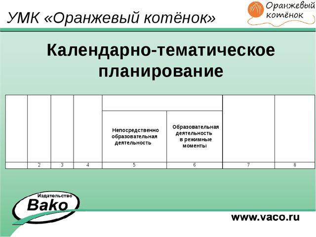 Календарно-тематическое планирование УМК «Оранжевый котёнок» Месяц Не де- ля...