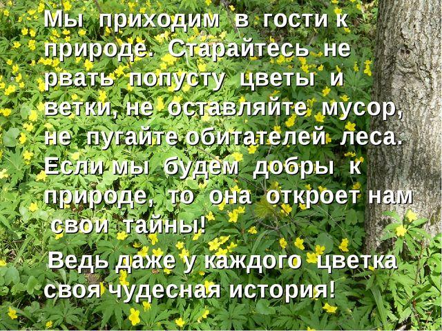 Мы приходим в гости к природе. Старайтесь не рвать попусту цветы и ветки, не...