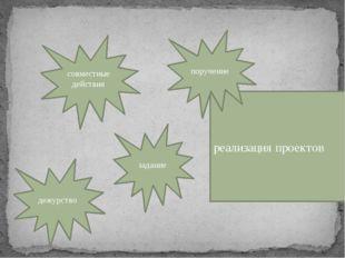 Формы организации детей: совместные действия реализация проектов дежурство з