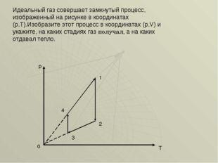 Идеальный газ совершает замкнутый процесс, изображенный на рисунке в координа