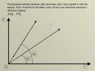 α2 α1 0 T P На рисунке представлены две изохоры для газа одной и той же массы