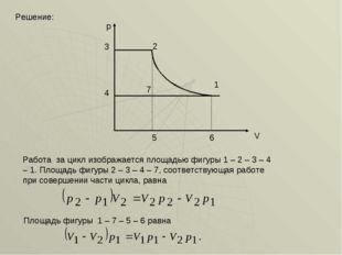 Решение: p V 2 3 6 5 4 7 Работа за цикл изображается площадью фигуры 1 – 2 –