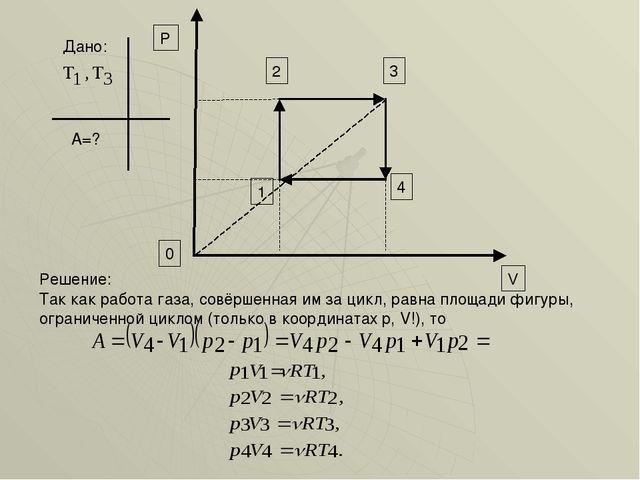Дано: А=? 3 4 0 V P 2 1 Так как работа газа, совёршенная им за цикл, равна пл...