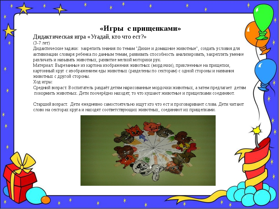«Игры с прищепками» Дидактическая игра «Угадай, кто что ест?» (3-7 лет) Дидак...