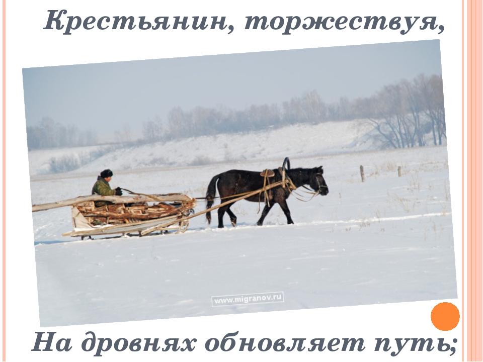 Крестьянин, торжествуя, На дровнях обновляет путь;