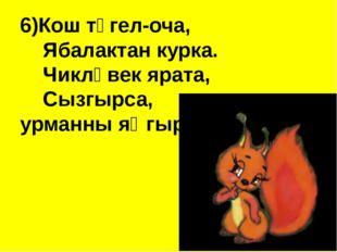 6)Кош түгел-оча,  Ябалактан курка. Чикләвек ярата, Сызгырса, урман