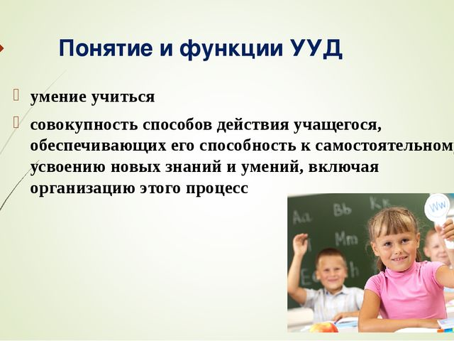 Понятие и функции УУД умение учиться совокупность способов действия учащегося...