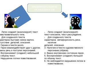 ИНДИВИДУАЛЬНЫЕ ОСОБЕННОСТИ Легко создают (анализируют) текст повествовательно