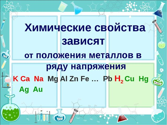 Химические свойства зависят от положения металлов в ряду напряжения K Ca Na M...