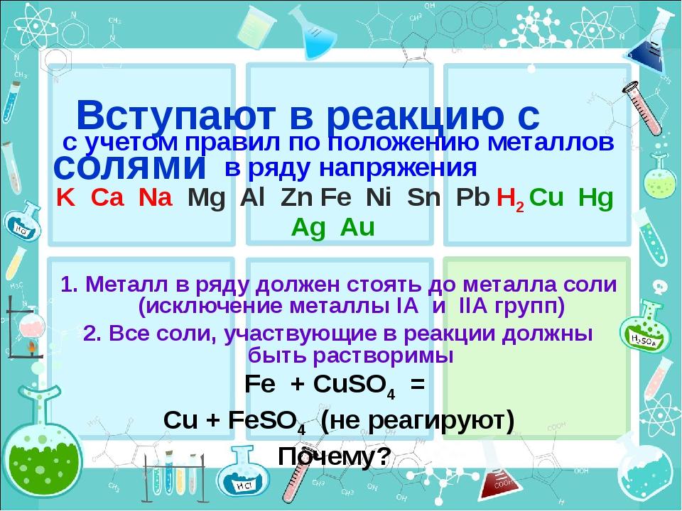 Вступают в реакцию с солями с учетом правил по положению металлов в ряду нап...
