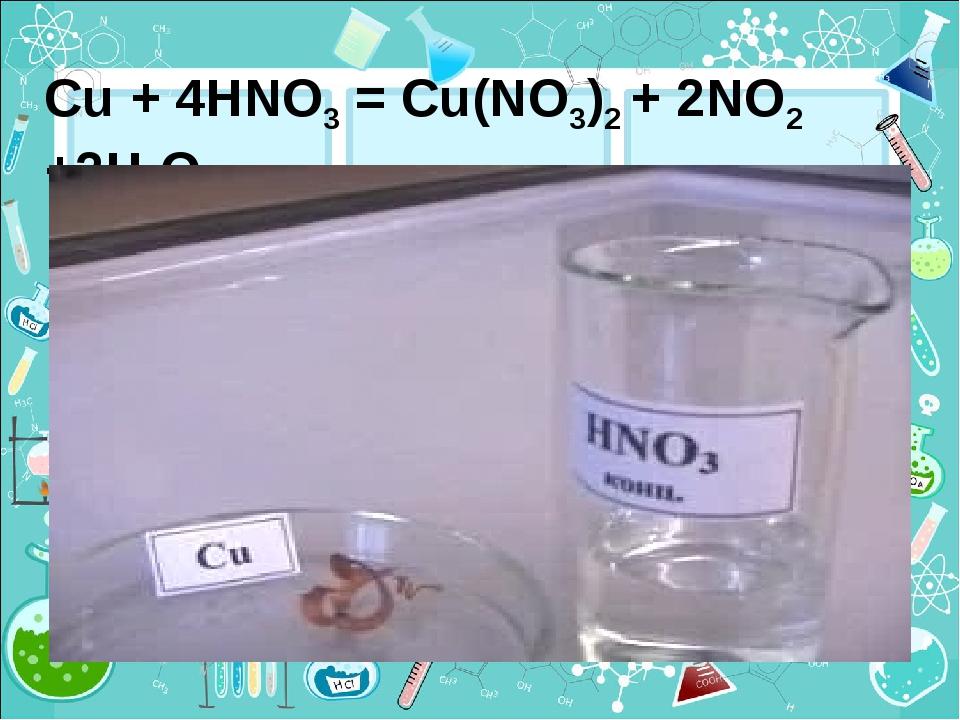 Cu + 4HNO3 = Cu(NO3)2 + 2NO2 +2H2O