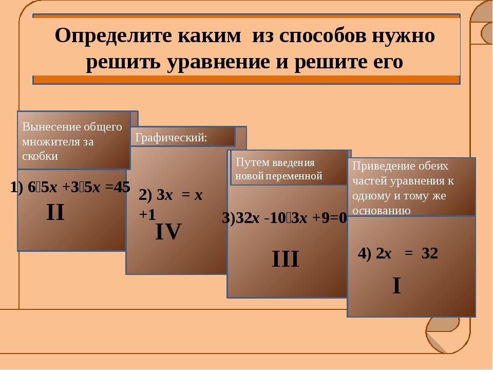 Способы решения Ответ: 0 I способ 2х = 32 2х = 25 х = 5 Ответ: 5 III способ...
