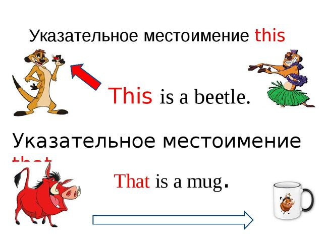 Указательное местоимение this This is a beetle. Указательное местоимение that...