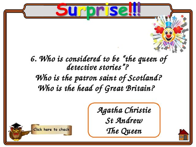 "6. Who is considered to be ""the queen of detective stories""? Who is the patro..."