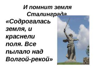 И помнит земля Сталинграда. «Содрогалась земля, и краснели поля. Все пылало н
