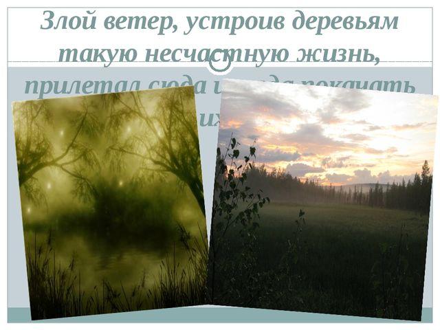 Злой ветер, устроив деревьям такую несчастную жизнь, прилетал сюда иногда пок...