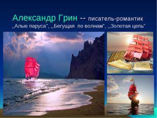 """Александр Грин -- писатель-романтик ,,Алые паруса"""", ,,Бегущая по волнам"""", ,,З"""