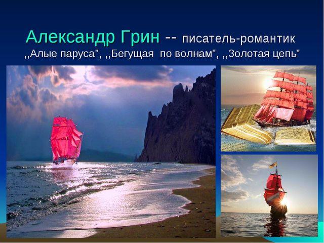 """Александр Грин -- писатель-романтик ,,Алые паруса"""", ,,Бегущая по волнам"""", ,,З..."""
