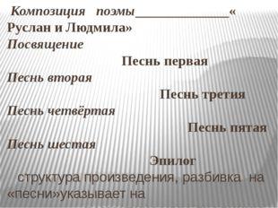 Композиция поэмы «Руслан и Людмила» Посвящение Песнь первая Песнь вторая Пес