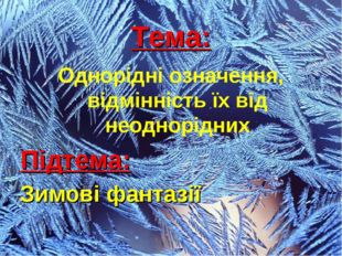 Тема: Однорідні означення, відмінність їх від неоднорідних Підтема: Зимові фа