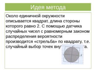 Идея метода Около единичной окружности описывается квадрат, длина стороны кот
