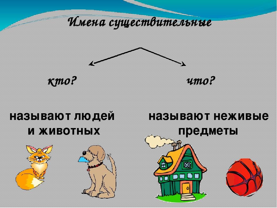 что? кто? называют неживые предметы называют людей и животных Имена существит...