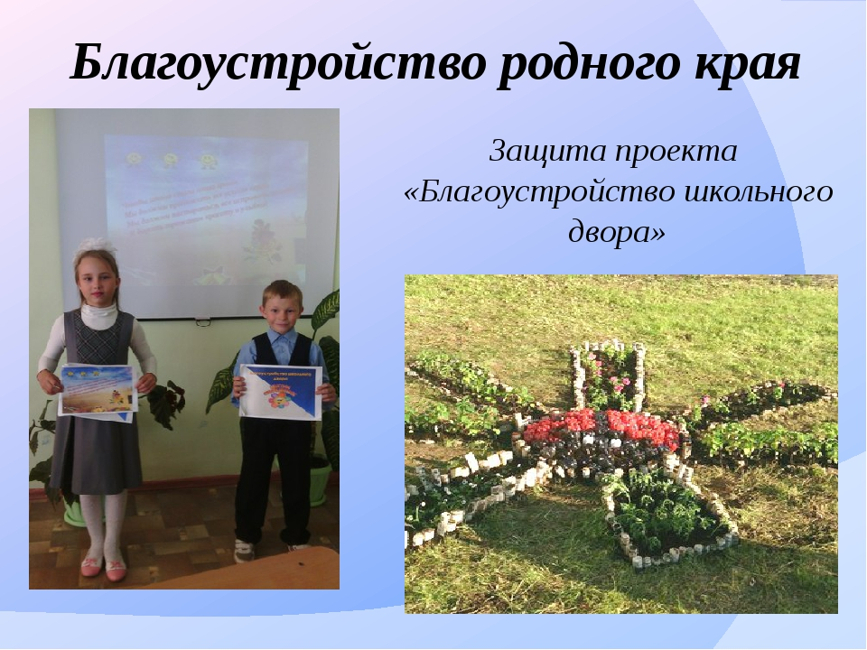 Благоустройство родного края Защита проекта «Благоустройство школьного двора»