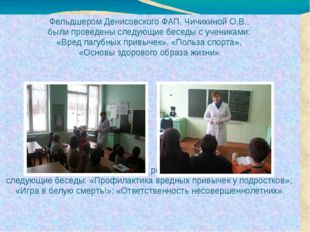 Фельдшером Денисовского ФАП, Чичикиной О.В., были проведены следующие беседы