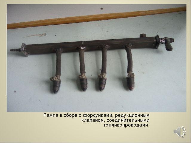 Рампа в сборе с форсунками, редукционным клапаном, соединительными топливопро...