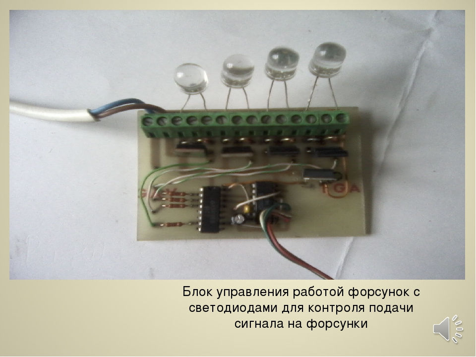 Блок управления работой форсунок с светодиодами для контроля подачи сигнала н...
