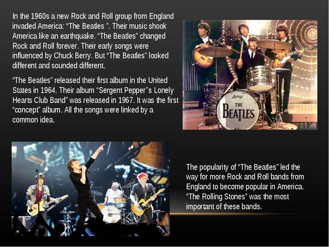 "In the 1960s a new Rock and Roll group from England invaded America: ""The Bea..."