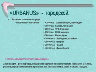 «URBANUS» - городской. Различии в понятии «город» : - поселение с жителями >