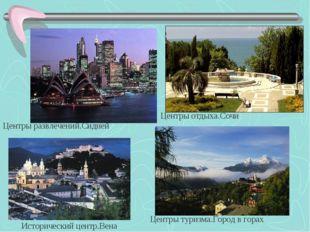 Центры отдыха.Сочи Центры развлечений.Сидней Центры туризма.Город в горах Ист