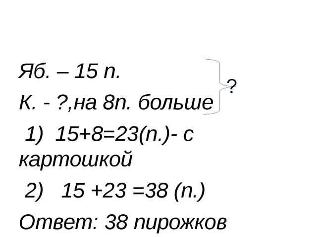Яб. – 15 п. К. - ?,на 8п. больше 1) 15+8=23(п.)- с картошкой 2) 15 +23 =38 (п...