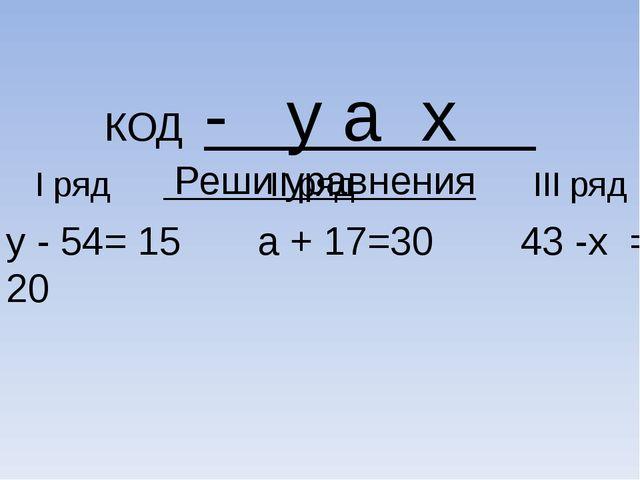 КОД - y а x Реши уравнения I ряд II ряд III ряд у - 54= 15 а + 17=30 43 -х =...
