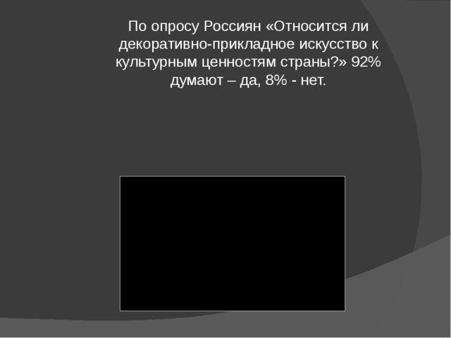 По опросу Россиян «Относится ли декоративно-прикладное искусство к культурным...