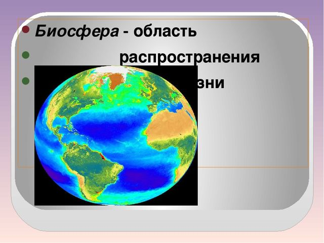 Биосфера - область распространения жизни