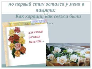 но первый стих остался у меня в памяти:  Как хороши, как свежи были розы…