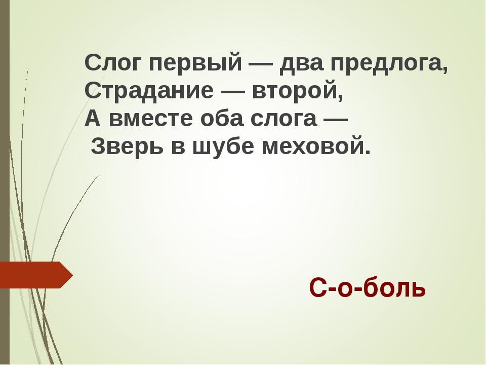 Слог первый — два предлога, Страдание — второй, А вместе оба слога — Зверь в...