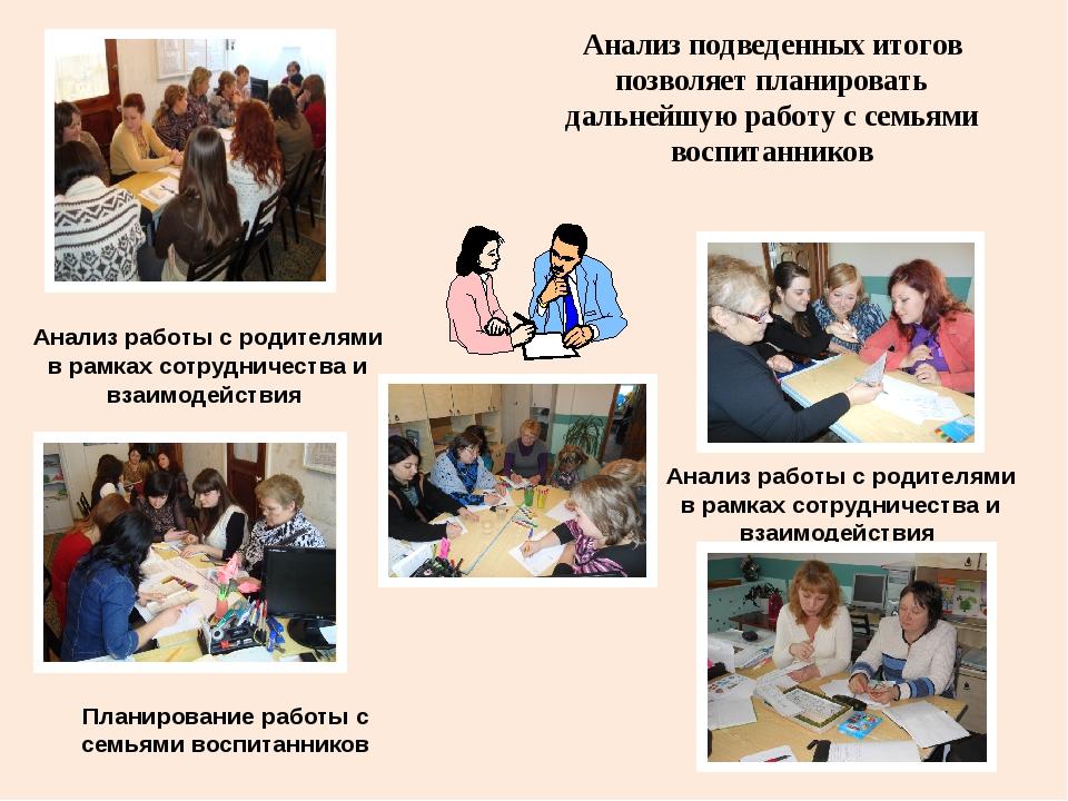 Анализ работы с родителями в рамках сотрудничества и взаимодействия Анализ по...