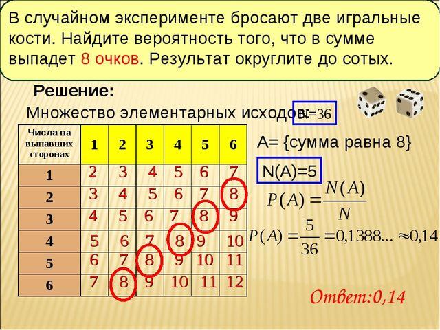 Множество элементарных исходов: Решение: 2 3 4 5 6 7 3 4 5 6 7 8 4 5 6 7 8 9...