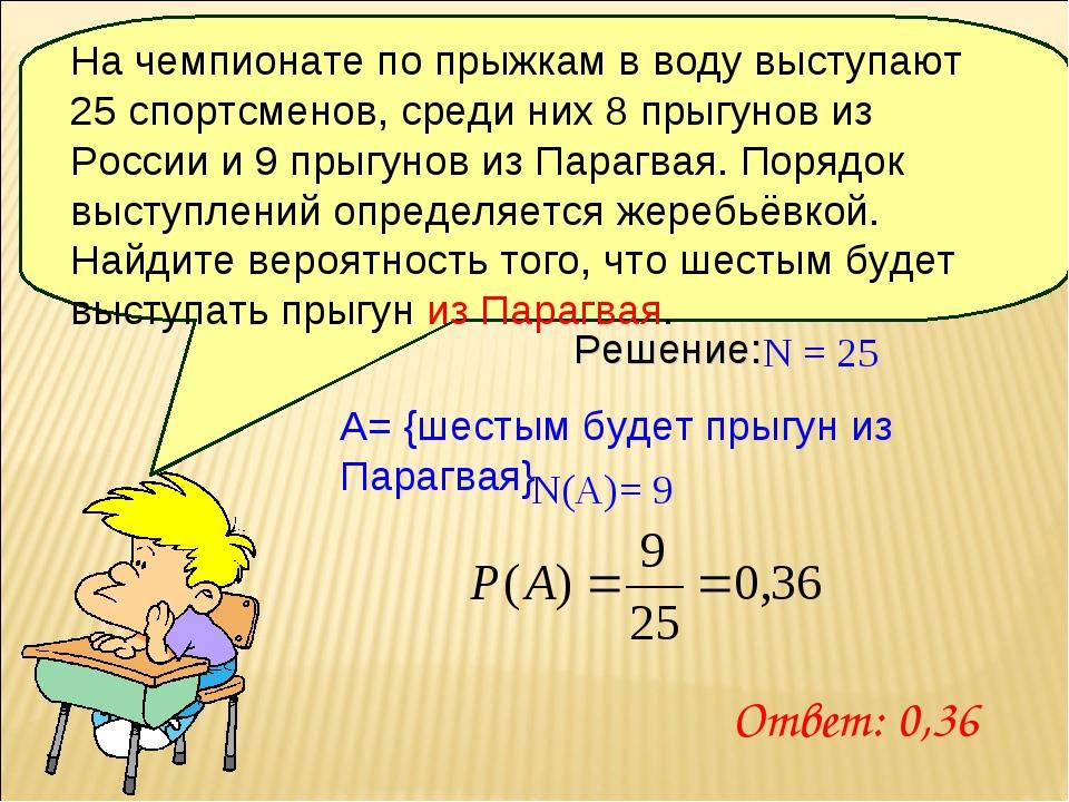 Решение: N = 25 A= {шестым будет прыгун из Парагвая} N(A)= 9 Ответ: 0,36 На ч...