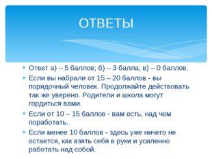 Ответ а) – 5 баллов; б) – 3 балла; в) – 0 баллов. Если вы набрали от 15 – 20