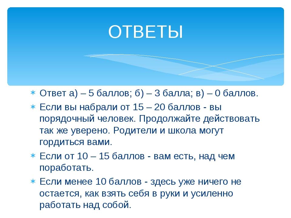 Ответ а) – 5 баллов; б) – 3 балла; в) – 0 баллов. Если вы набрали от 15 – 20...